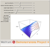 """Beverton and Holt's Yield per Recruit Model"" from the Wolfram Demonstrations Project"