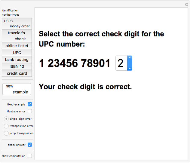 Check Digit Schemes Wolfram Demonstrations Project