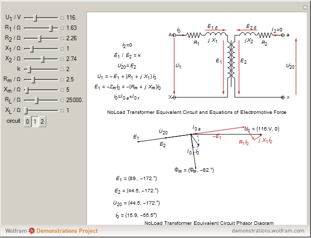Circuit phasor diagram for transformers wolfram demonstrations project details ccuart Choice Image