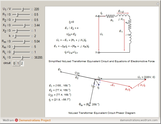Circuit phasor diagram for transformers wolfram demonstrations project details ccuart Image collections