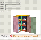 """Corner Cabinet with Rotating Shelves"" from the Wolfram Demonstrations Project"