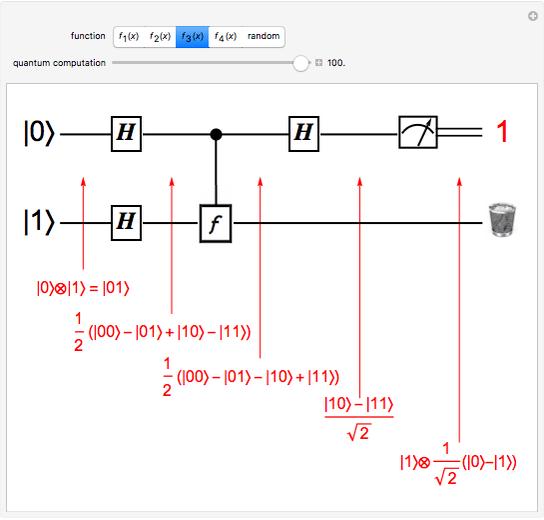 Deutsch's Algorithm on a Quantum Computer - Wolfram