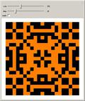 Five-Neighbor Two-Color Outer Totalistic 2D Cellular Automaton