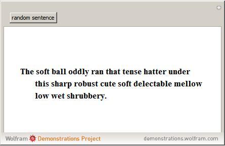 nonsense sentence generator wolfram demonstrations project