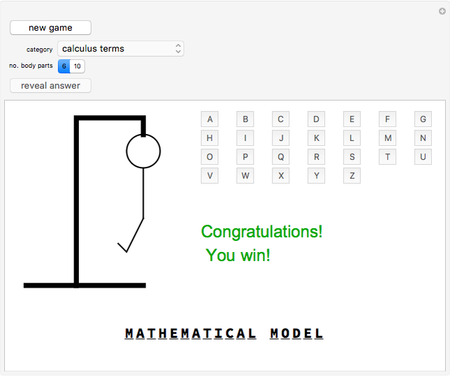 Play Hangman - Wolfram Demonstrations Project