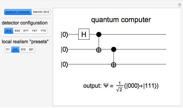 Quantum Computer Simulation of GHZ Experiment - Wolfram