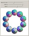 Rings of 5 and 10 Rhombic Triacontahedra