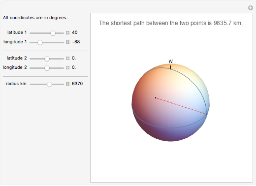 Shortest Path between Two Points on a Sphere - Wolfram