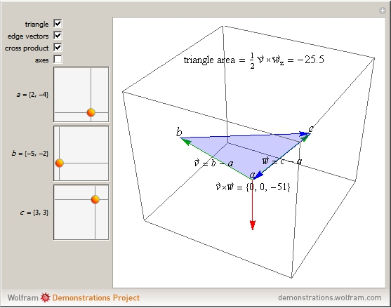 how to find area of triangle with vectors